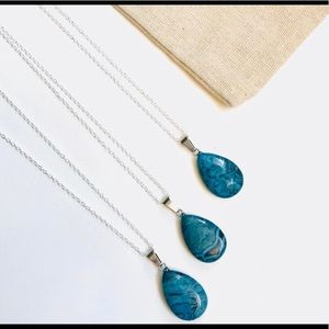 Blue Jasper Teardrop Pendant Necklace